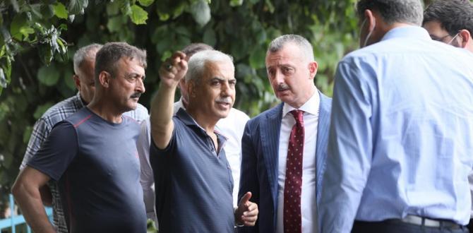 Başkan Büyükakın su baskının ardından Maşukiye'ye gitti